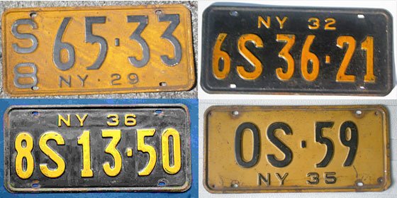Plates achieve more or less their current dimensions. For the next 40 years, plate numbers will be coded by county of issue: The one at bottom right, for example, was from Oswego. Colors alternate by year: first orange on black, then black on orange. <br>