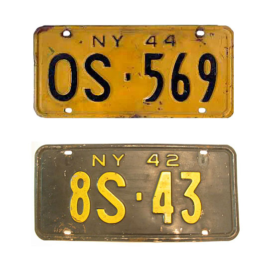"Same designs, but half as many of them: To save steel for the war effort, front plates are discontinued. For 1944, older plates are restamped with the new year (see the irregularity on the last ""4""?)."