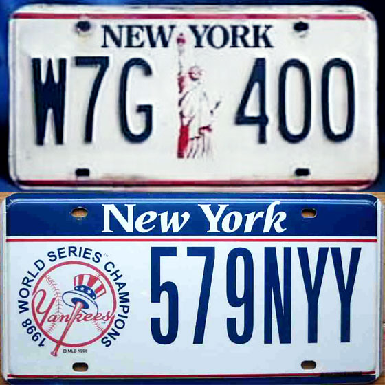 The state marks the Statue of Liberty's centennial celebration with a fresh design. White plates are bright and easy to read (and, with red and blue printing, patriotic!), but they get grubby-looking fast. Registration decal moves off the plate to the windshield. <br>
