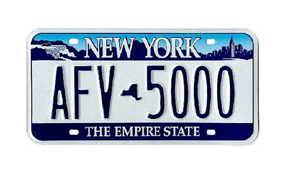 Blue-on-blue-on-white, and the most political plate ever. Reflects the upstate/downstate divide: Both Manhattan skyline and Niagara Falls appear in the top border. A little outline of New York State replaces the hyphen at center. THE EMPIRE STATE returns, too. <br>