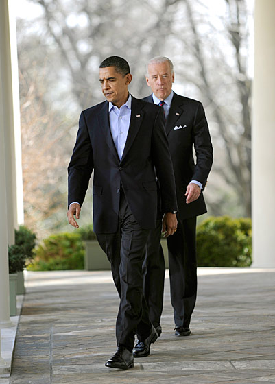 Vice-President Joe Biden is worried that the click-clack of his shoes on the pavement will alert Obama to his presence.
