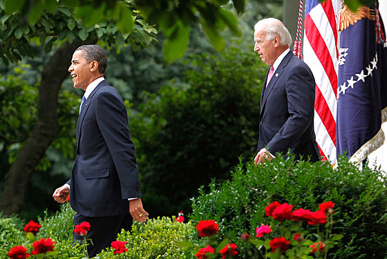 Biden is conscious not to step on any crackly leaves while he stalks Obama during a refreshing Rose Garden stroll.