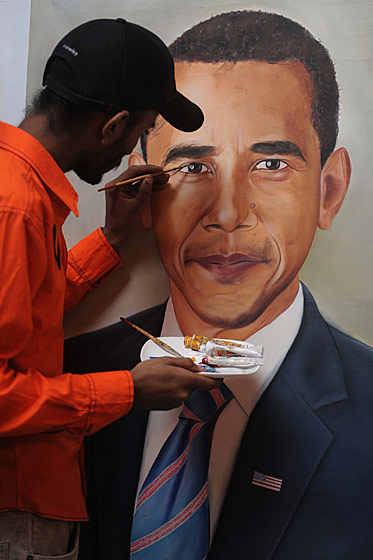 Painter Jagjot Singh Rubal plans to mail his portrait to Obama when he's finished. And in the ultimate sign of respect, he will not put a Hitler mustache on it.