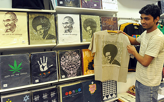 These T-shirts, portraying Obama with a large Afro for some reason, have been flying off the shelves. Sorry, Gandhi.