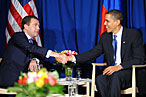 Dmitry Medvedev and Barack Obama.
