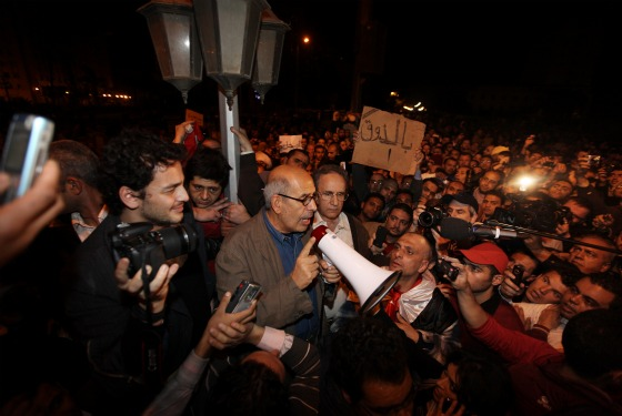 Opposition leader Mohamed ElBaradei speaks to supporters in Tahrir Square.