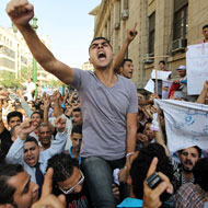 Egyptian Coptic Christians shout slogans during a demonstration outside the Cairo High Court on Sunday.
