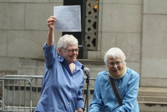 Phyllis Siegel, 76, and Connie Kopelov, 84; the first same-sex couple married in New York City.