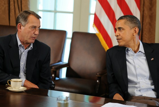 House Speaker John Boehner and President Barack Obama at the White House yesterday for debt talks.