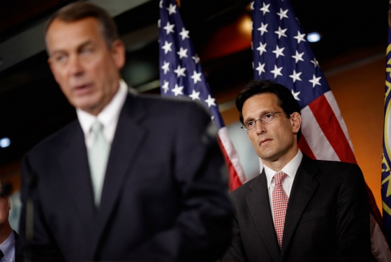 Speaker Boehner and Majority Leader Cantor after GOP caucus meeting regarding debt talks.