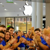 Apple employees applauding the company's decision to pay off Greece's debt? More likely they all just got free iPads.