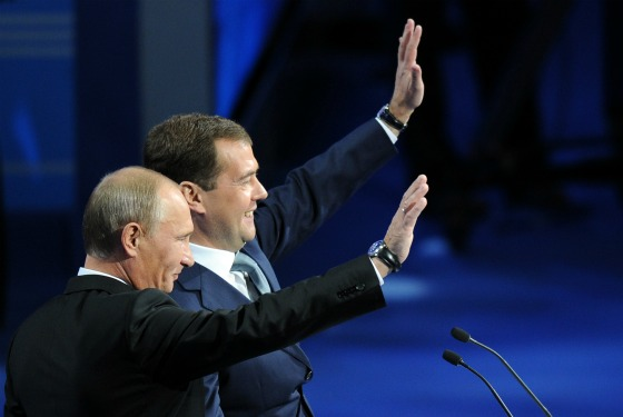 Putin and Medvedev at United Russia congress today.