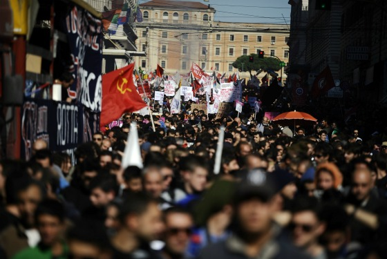 Protests in Rome today, before they turned ugly.