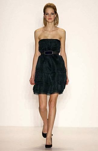 Lela Rose - Lela Rose - Fall 2008 Collection :  over sized collar skirts gray metallics
