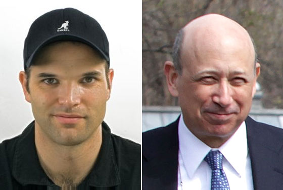 "Matt Taibbi (left) accuses Goldman Sachs of dishonesty. We say, ""At least CEO Lloyd Blankfein is honest about his male-pattern baldness!"""