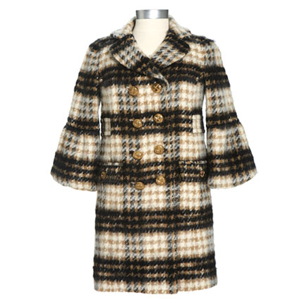 Shop-A-Matic -- Fall Outerwear -- Double-breasted Coat by Juicy Couture :  tan shop-a-matic plaid winter